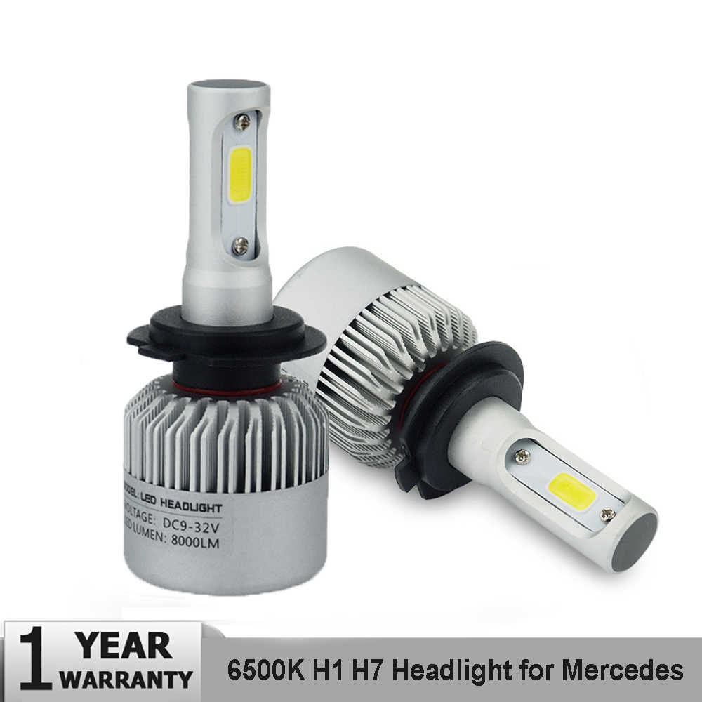 2x Canbus H1 H7 LED Car Headlight Bulbs For Mercedes W203 W204 W205 Auto Headlamp 6500K 72W 16000LM LED H7 High Low Beam 12V 24V