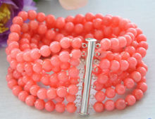 """Real 8row 7.5"""" 6MM round pink coral bead bracelet magnet AAAA> free shipping"""
