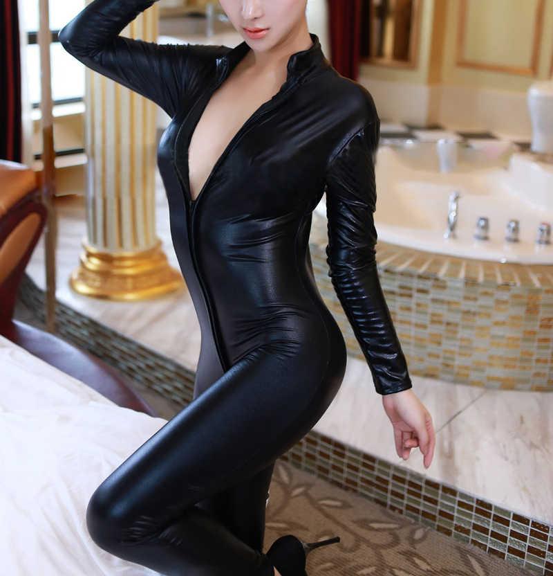 Горячая сексуальная Catwomen искусственная кожа, латекс Zentai Catsuit Гладкий Wetlook комбинезон на молнии спереди Эластичный черный PU полный комбинезон