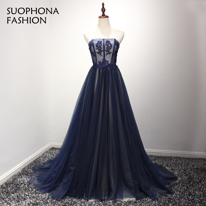 Abendkleider Strapless Dark Royal blue A-Line Evening dress 2017 Appliques Kaftan Lace Evening gowns Avondjurk vestidos de novia