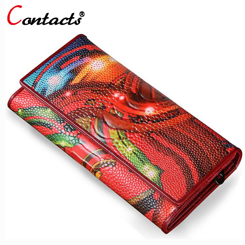 CONTACT'S Genuine Leather women Wallet Female Purse Flowers designer Clutches Phone coins Card Holder Organizer Female Money Bag contact s wallet women genuine leather wallet female card holder wallets female purse brand designer money bag wallet female