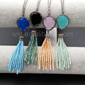 WT-N886 Wholesale high quality crystal tassel necklaces Unique design beads tassel necklaces with black gun plated
