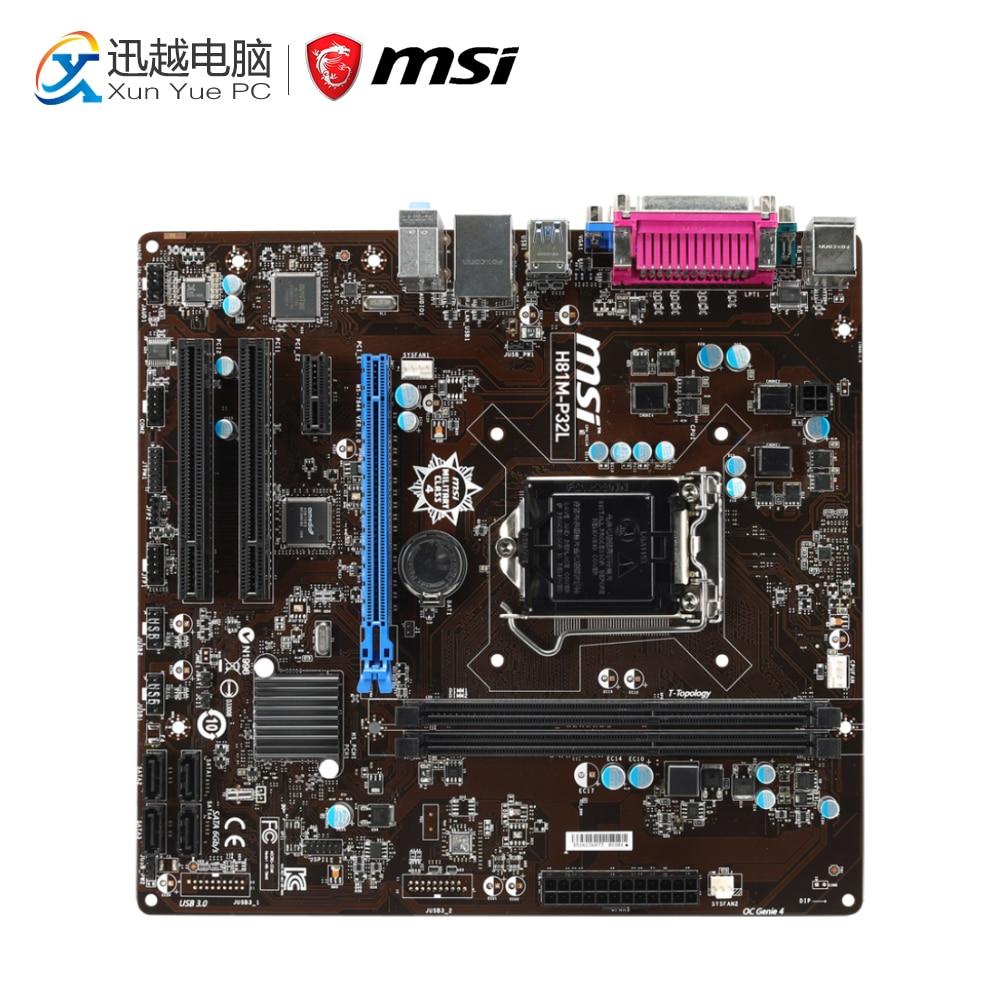 MSI H81M-P32L Desktop Motherboard H81 Socket LGA 1150 i3 i5 i7 DDR3 16G SATA3 USB3.0 Micro-ATX original motherboard msi h81m pro vd lga 1150 ddr3 h81 socket lga 1150 i3 i5 i7 ddr3 16g sata3 usb3 0 micro atx free shipping