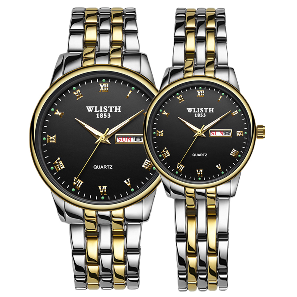 WLISTH Couples Watches Quartz Stainless-Steel Waterproof 1pair Women Brand Female Luxury