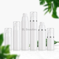 500pcs/lot 15ml 30ml 50ml White Airless Lotion Pump Dispensing Bottle 1oz PP Cosmetic Containers Packaging With Silver Edge