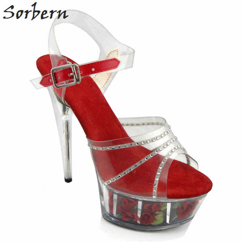 Здесь продается  Sorbern Women Sandals 2018 Ladies Party Shoes PVC Hand Made Flower Crystal Sandals Women Summer Shoes Women Plus Size 35-46  Обувь