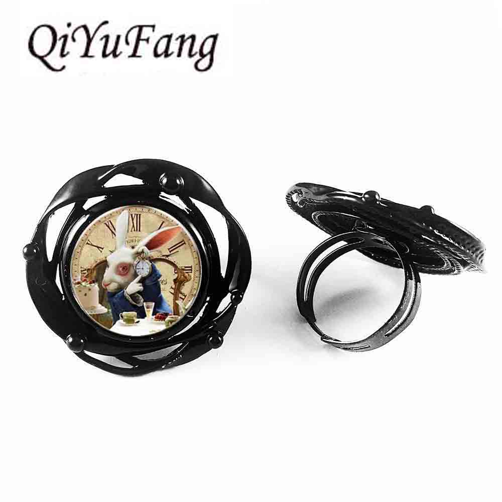 US Movie Alice In Wonderland Rabbet watch time new flower big ring charm Steampunk doctor who 1pcs/lot women mens vintage