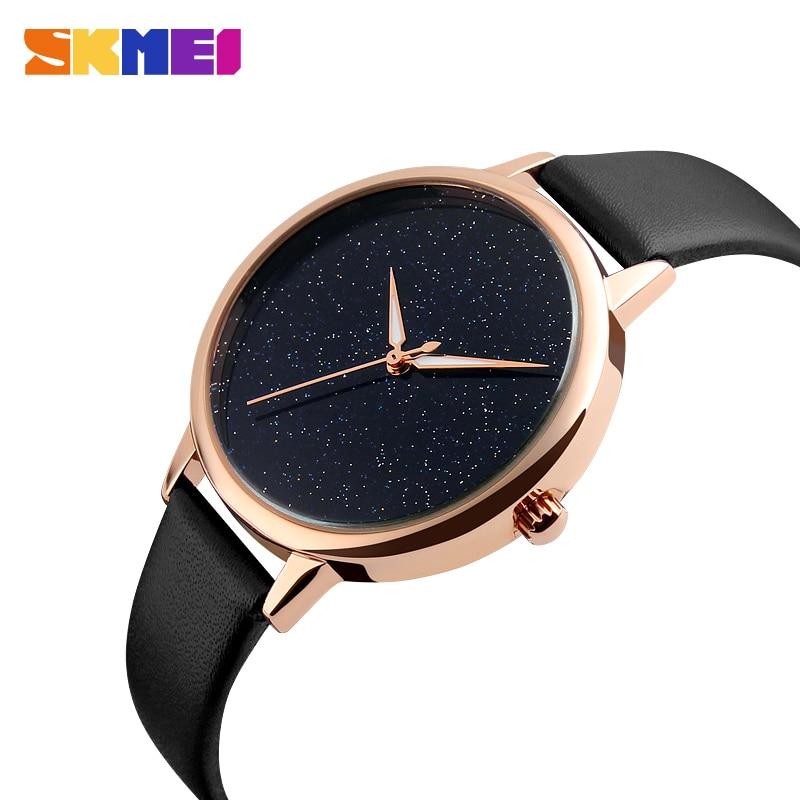 SKMEI Womens Luxury Rose Genuine Leather Quartz Watches Starry Sky Waterproof Watch Top Brand Fashion Casual Ladies Wristwatches