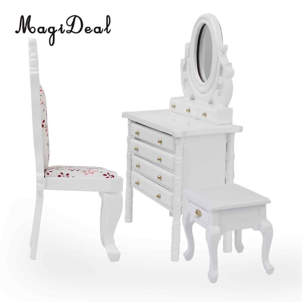 MagiDeal 1Pc 1:12 Dollhouse Miniature White Wooden Dressing Table Model Desk Mirror Furniture for Bedroom Dolls Make-up Toys