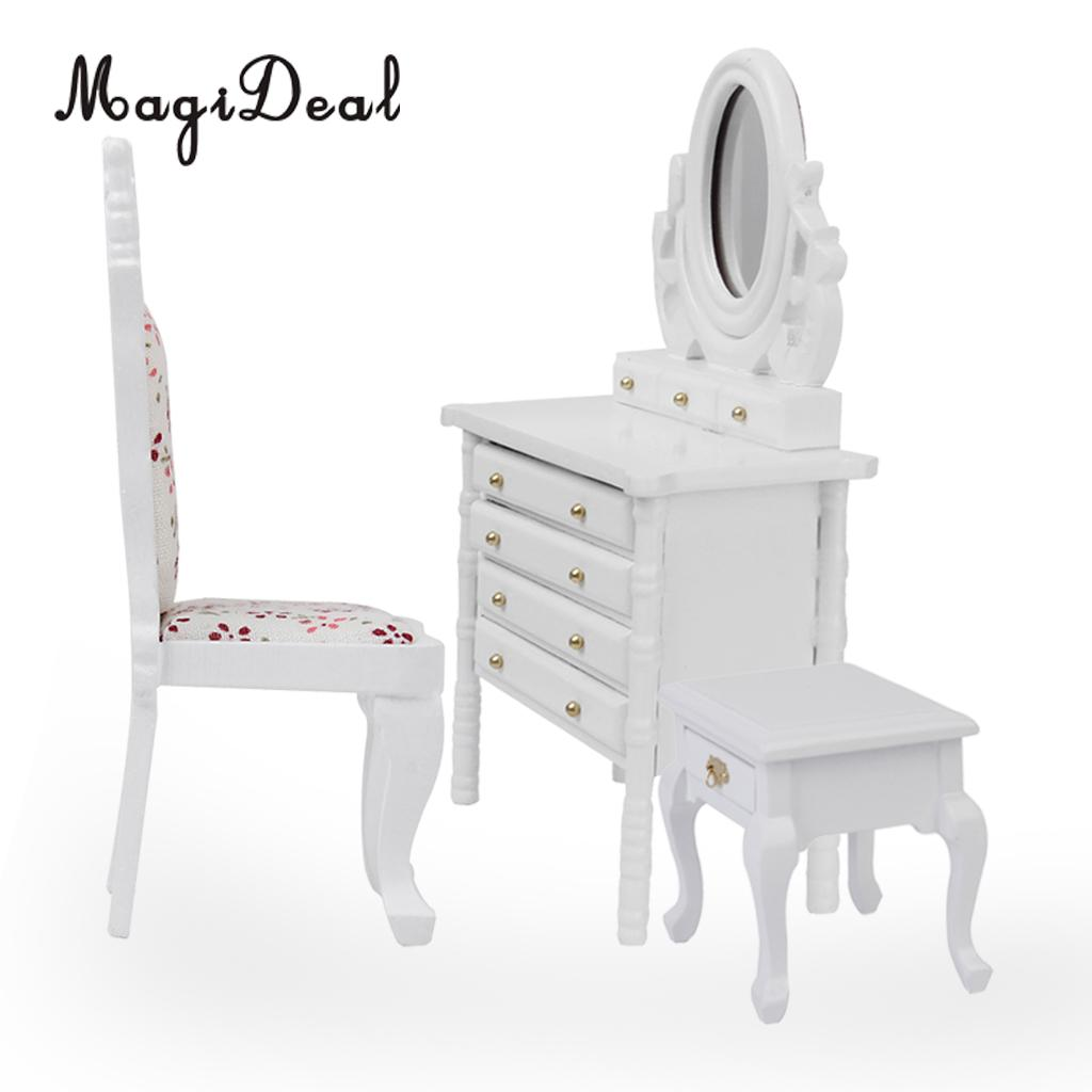 Dollhouse Miniature Decor 1//12 Scale Dresser With Drawer Stool Model White