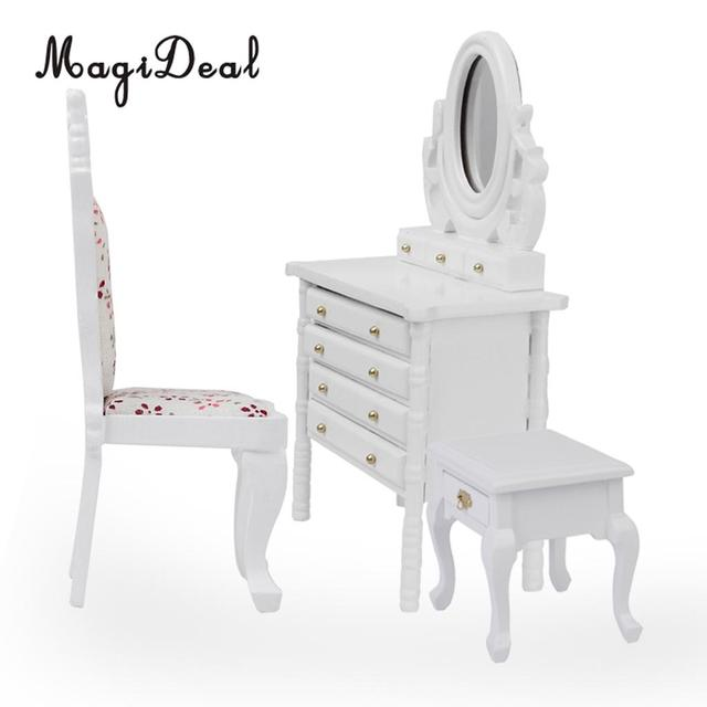 Magideal 1pc 1 12 Dollhouse Miniature White Wooden Dressing Table Model Desk Mirror Furniture For
