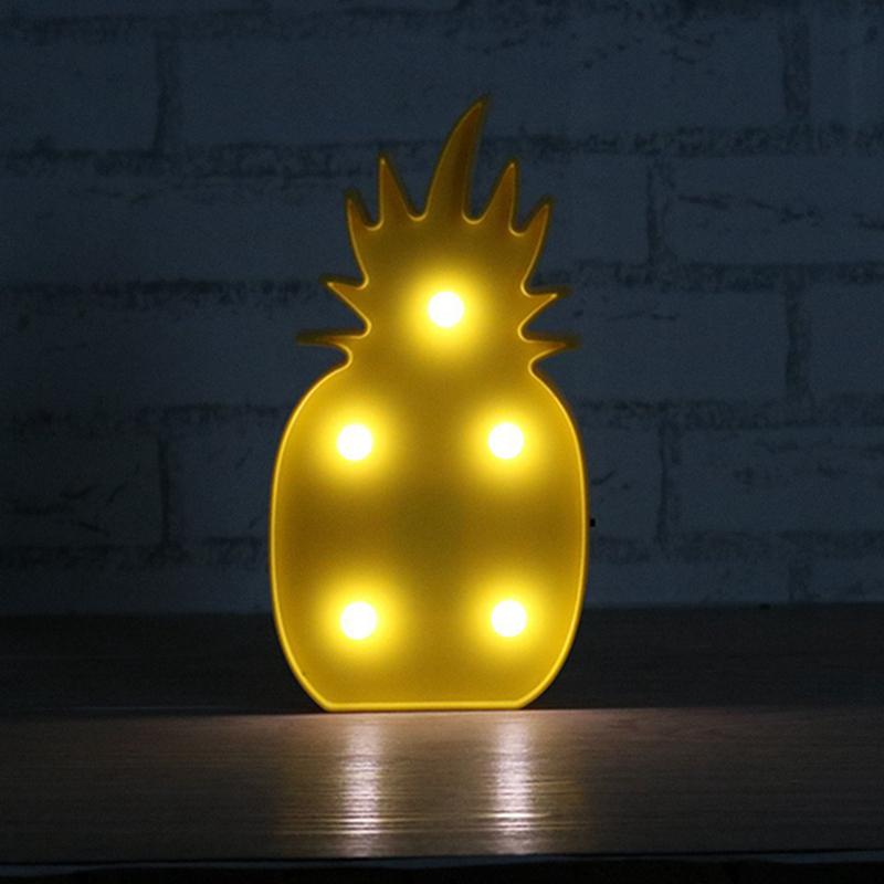 AKDSteel 3W Plastic Lighted Pineapple Marquee Sign, LED Baby Night Light Warm White Light