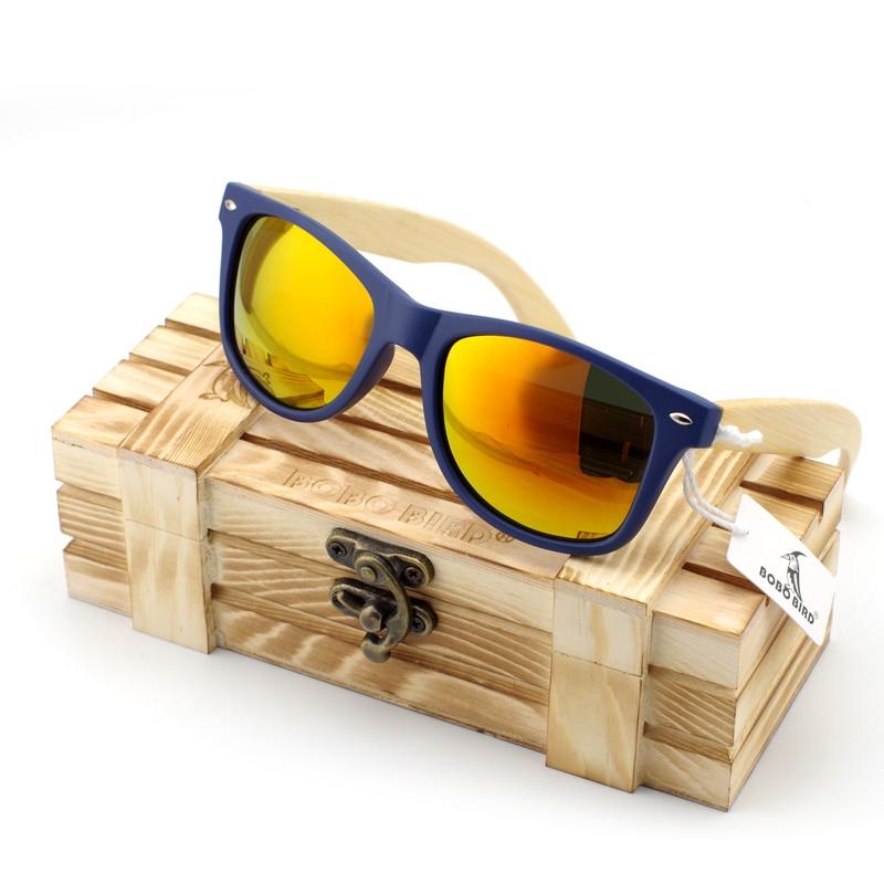 BOBO BIRD Houten zonnebril Dames heren met kunststof frame Bamboe houten benen bril in houten doos op maat logo