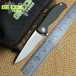Zielony cierń HATI łożysko kulkowe nóż składany Flipper M390 ostrze uchwyt z włókna węglowego na zewnątrz camping survival noże EDC narzędzia