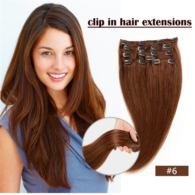 Color 6 Light Brown Clip In Human Hair Extension Brazilian Hair70g