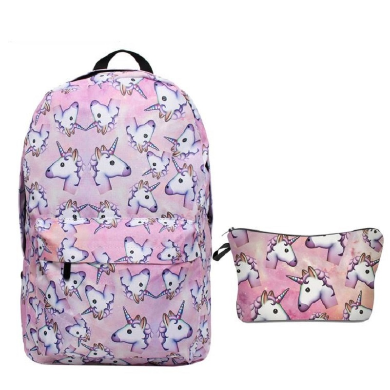 2 Teile/satz Einhorn Rucksack 3d Tier Druck Rucksack Reise Softback Schule Tasche Mochila Schule Rucksack Für Mädchen Bagpack Set