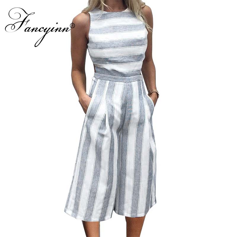 FANCYINN Women Stripe Print Sleeveless Zipper Back Long Jumpsuit Romper Casual Style