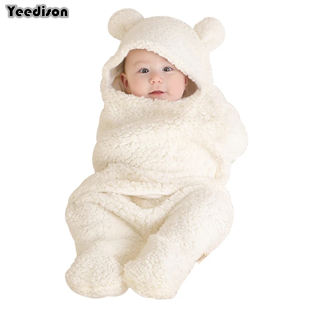 Yeedison Autumn Winter Envelope For Newborns Solid Warm Baby Sleeping Bag Coral Fleece Infant Swaddle Blanket Hooded Footmuff (1)
