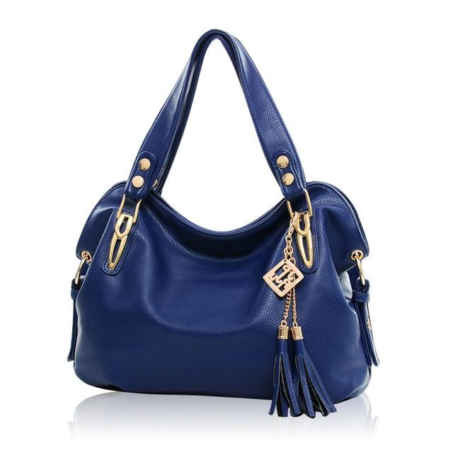 35d5e0328 Bolsos de cuero 2016 mujeres Pure Color de las borlas decorar moda  bandolera cruzada cuerpo bolsas