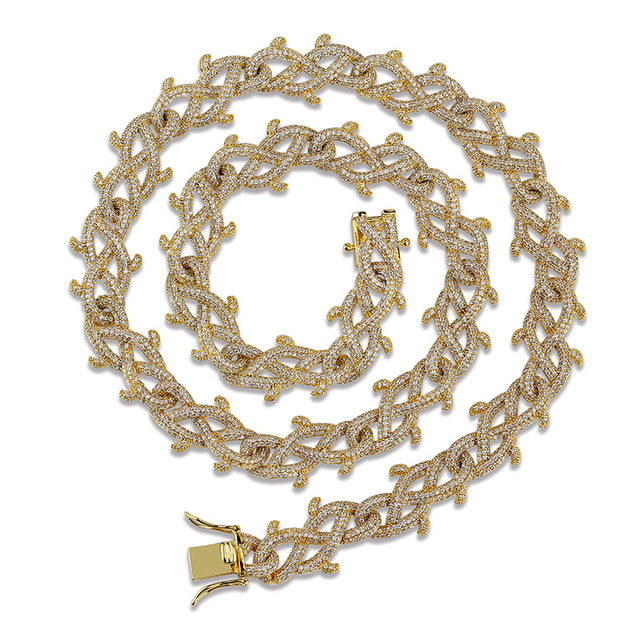18mm Hip Hop Bling Iced Out CZ Zircon Stone Gold Silver Plant Vine thorns Link Chain Necklaces for Men Rapper jewelry 18″ 22″
