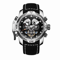 Reef Tiger Aurora Serier RGA3503 Men Sport Military Multifunction Dial Automatic Mechanical Wrist Watch Leather Watchband