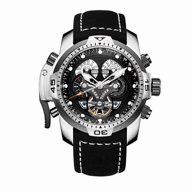 Reef Tiger Aurora Serier RGA3503 Men Sport Military Multifunction Dial Automatic Mechanical Wrist Watch - Leather Watchband