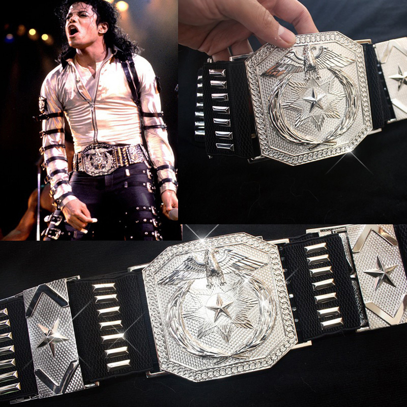 MJ Michael Jackson Classic BAD Vocal Concert Show Silver Alloy Punk Military US Army Eagle Large Belt Waistband Japan In 1980s