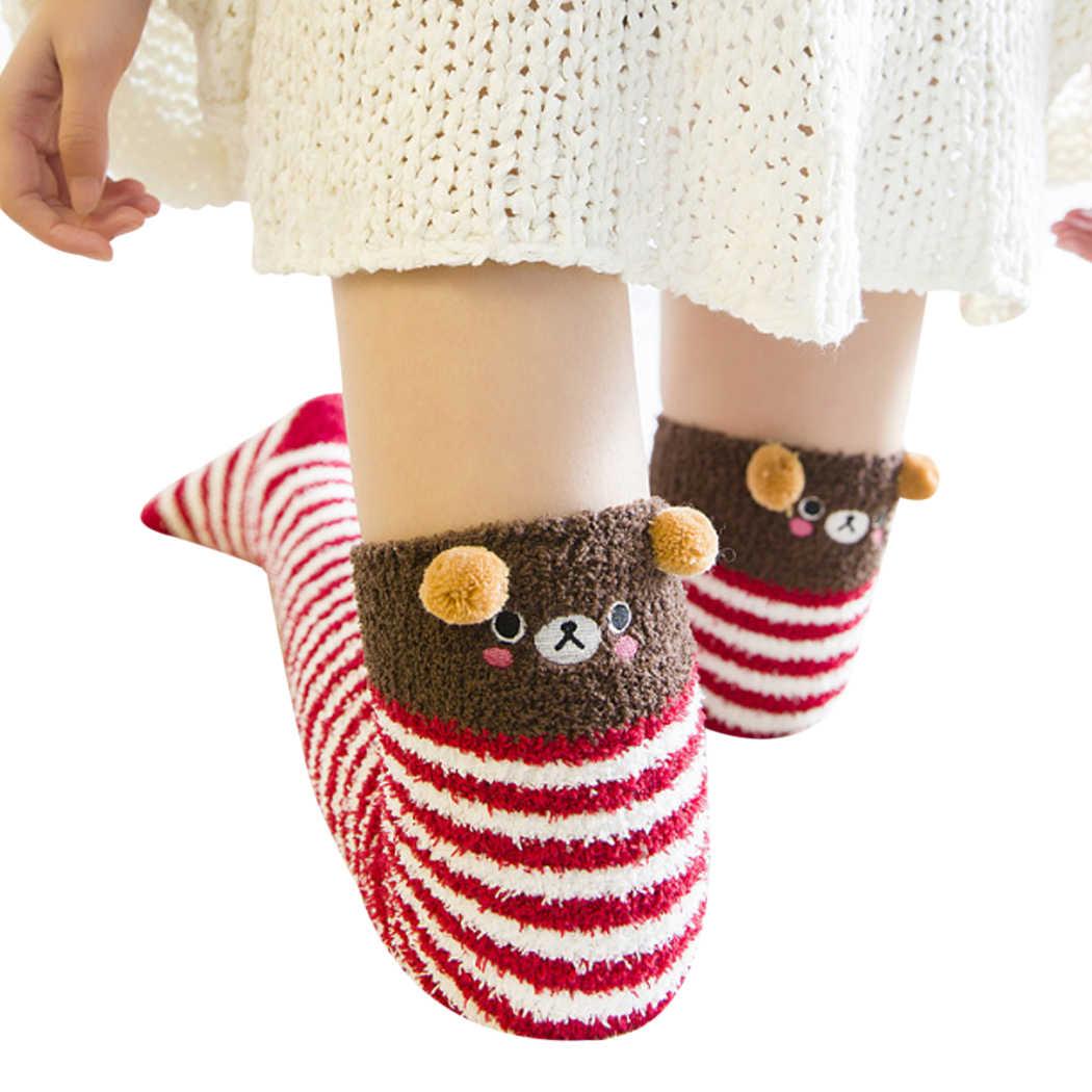 3c81d4719 Sweet Cute Girl Animal Modeling Socks Lovely Women Velvet Warm Cozy Long Thigh  High Socks Kawaii