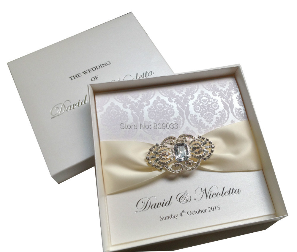 Luxurious Boxed Flocked Wedding Invitations With