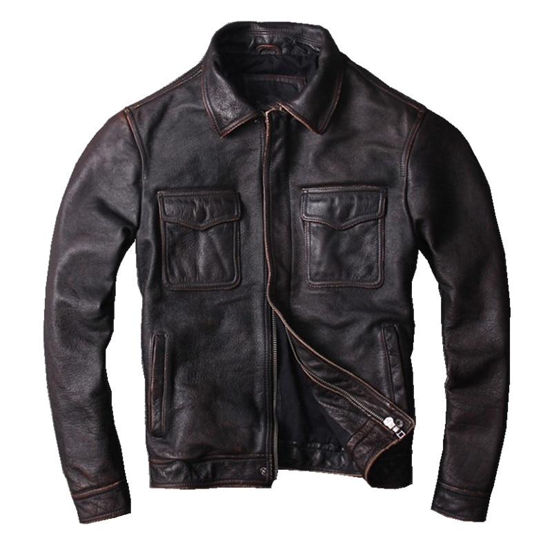 HARLEY ciruela Vintage Brown hombres chaqueta de cuero más tamaño 5XL vaca genuino Slim Fit invierno ruso abrigo de cuero informal