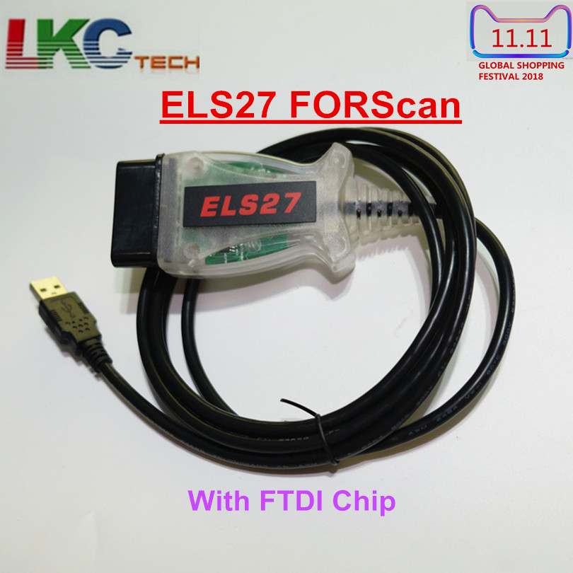 2018 A + Qualität ELS27 FORScan Scanner Mit FTDI Chip ELS27 OBD2 Code Reader Unterstützung ELM327 J2534 USB Diagnose Kabel