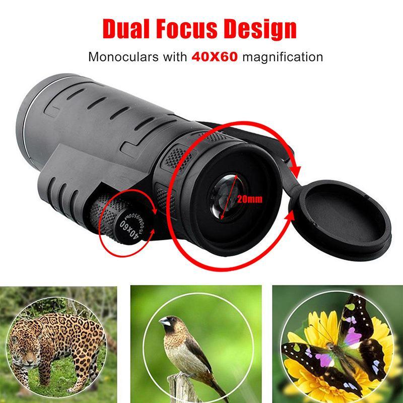 Night Vision 40x60 HD Monocular Telescope Outdoor Hunting Hiking Portable Tool