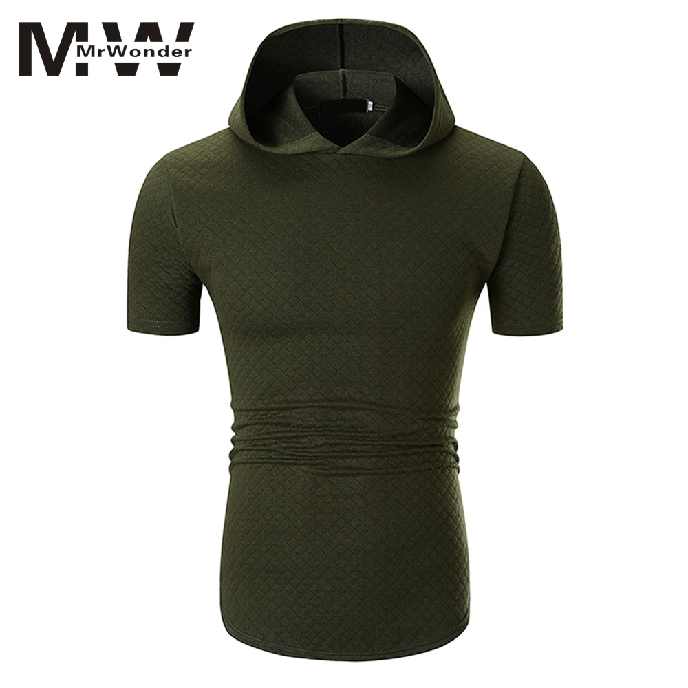 mrwonder Summer Short Sleeve Men Hoodies Fashion Casual Hooded SUmmer Mens Tops Slim Plaid Causal Big Size Cotton Hoodies SAN0
