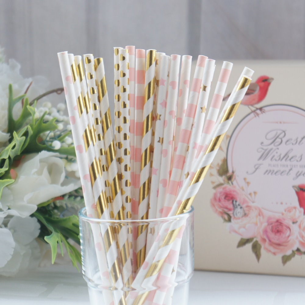 limit sale 25pcs spring morning pink gold design Paper Straw Drinking Straws Birthday Party Wedding baby shower Decoration