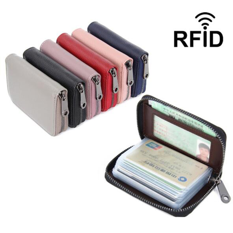 Genuine Leather Women Business Card Holder Wallet Bank Credit Card Case ID Holders Rfid Wallet Ladies Coin Purse Small Wallet