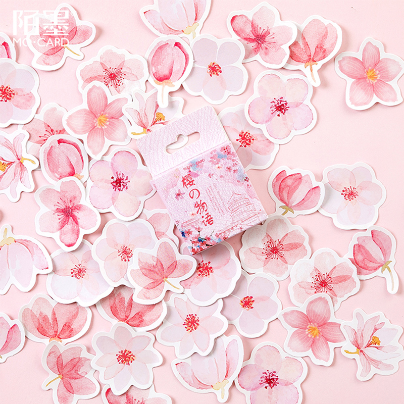 45 Pcs/Box Beautiful Flowers Pink Petal Mini Decoration Paper Sticker Decoration DIY Album Diary Scrapbooking Label Sticker