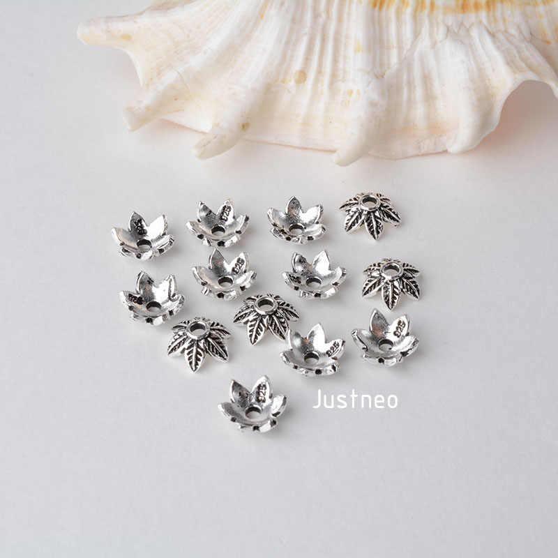Stałe 925 sterling srebrny liść koralik cap, tajski srebrna podkładka dystansowa koralik czapki, biżuteria diy srebrne półfabrykaty/komponentów,