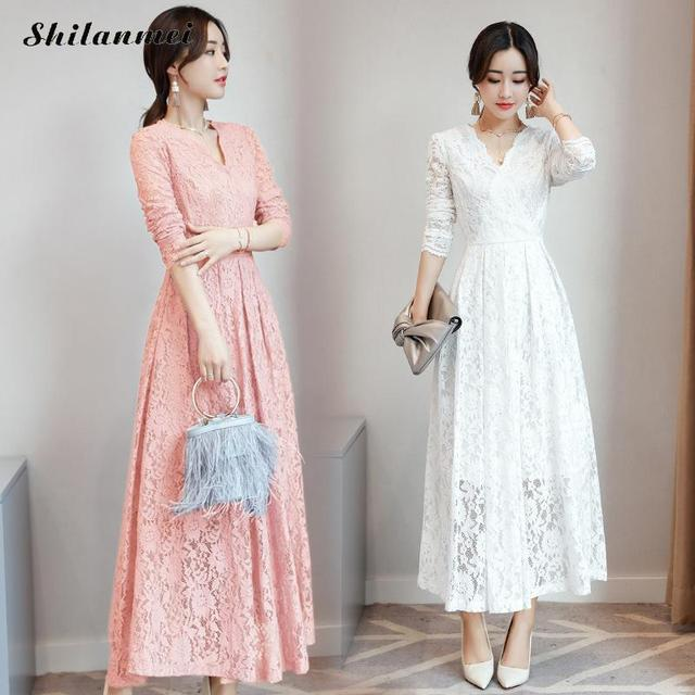 91ee0c0ba De manga larga de las mujeres Rosa Negro Azul blanco vestidos de encaje de  moda elegante