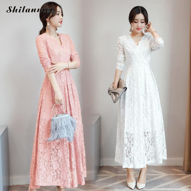 Women long sleeve pink black blue white lace dress fashion elegant long maxi dress 2018 autumn korean plus size party vestidos black long sleeve lace dress