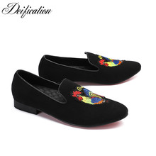 Deification Black Embroidery Casual Loafers Pig Suede Casual Men Flats Slippers Formal Slip On Leather Shoes Men Plus Size 38-46 zobairou leopard leather loafers zapatos hombre slip on velevt slippers flats formal shoes men plus size oxford shoe lasts