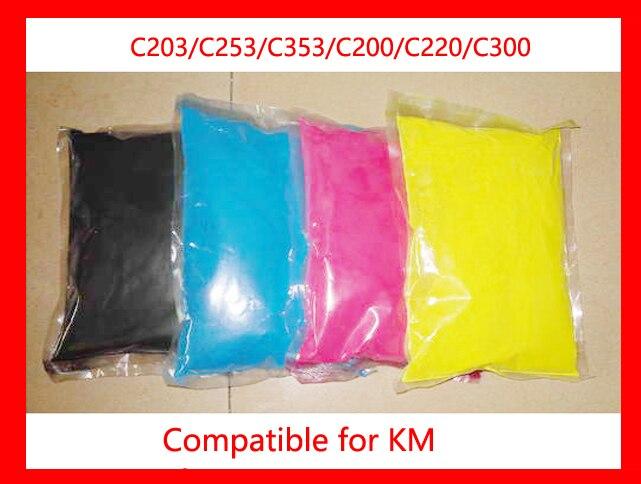 High quality color toner powder compatible for Konica Minolta C203/C253/C353/C200/C220/C300 Free Shipping high quality 4 color bizhub c200 c210 c200e c203 c253 c353 organic photoconductor drum unit iu212 for konica minolta