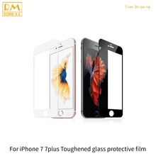 1pcs For iPhone 7 7G, 7 Plus Protective Film Full Cover Tempered Glass Screen Protector 9H 5D Black White Color