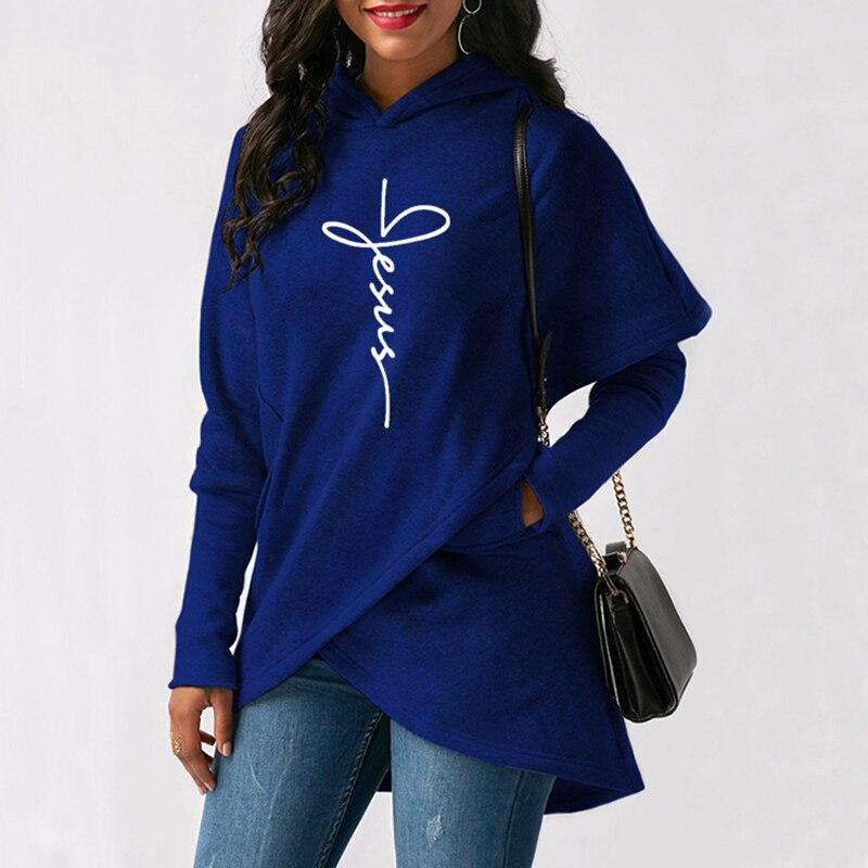 2020 sonbahar kış kadın Hoodies tişörtü Casual Tops İsa İnanç baskı svetşört sıcak noel Kawaii kazak 5XL 3