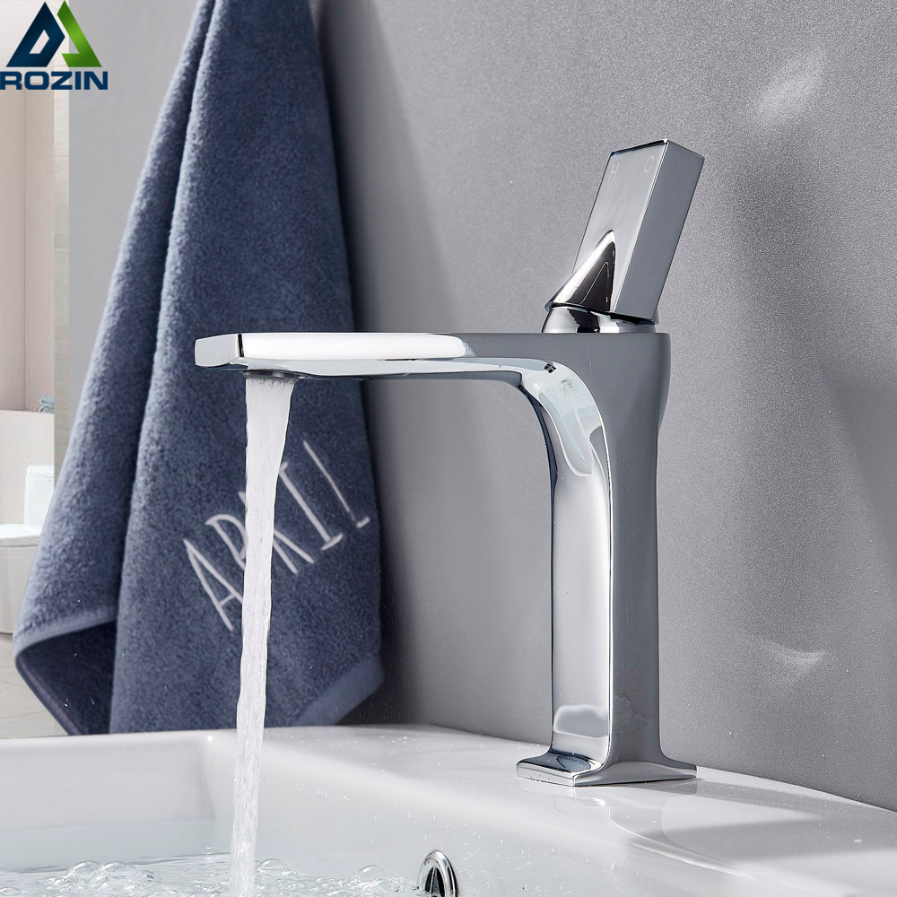 Chrome Square Bathroom Sink Faucet Single Lever Bathroom Sink Mixers Cold and Hot Water Vanity Sink Tap Single Hole-in Basin Faucets from Home Improvement    1