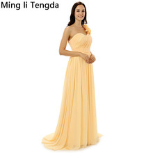 Yellow Chiffon Evening Dresses Long Pleated Sexy One Shoulder Evenging