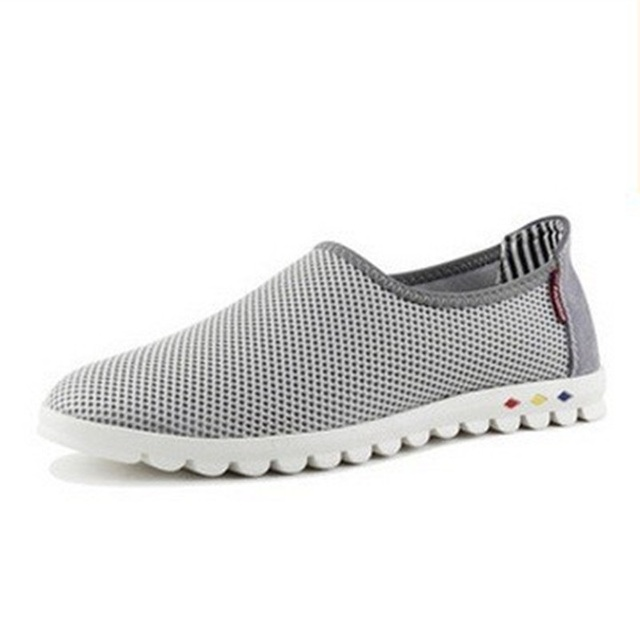 De los hombres de Malla de recorte de calzado tamaño grande (8-18) planos respirables entrenadores Zapatilla de deporte ocasional del deporte los hombres al aire libre zapatos de verano de estilo