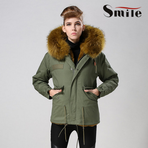 Womens Mr Army Green Parka Real Fur Hood Winter Coats Ladies Long