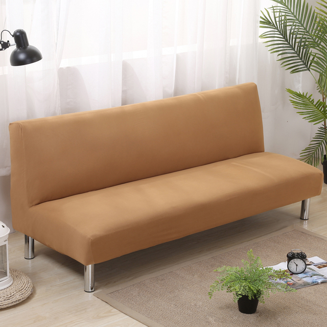 Solid Color Folding Sofa Cover Elastic Slipcovers For Armless Bed Two Seater Covers