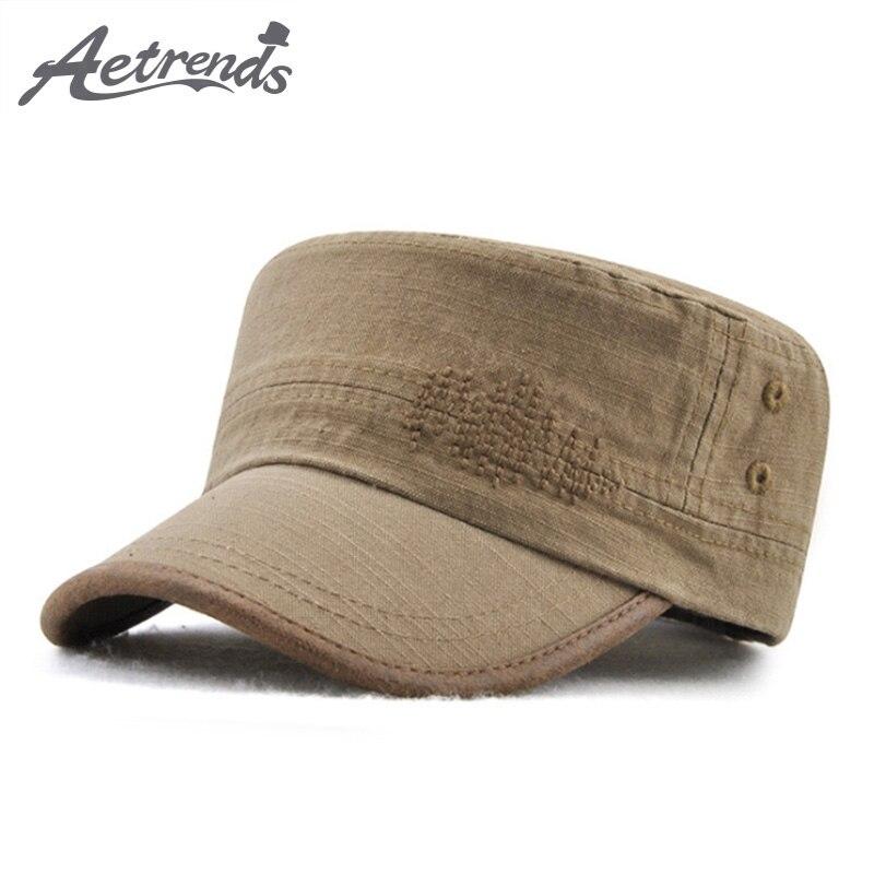 AETRENDS 2018 nueva moda 100% algodón militar gorras plana sombreros para  hombres y mujeres del ejército tapa gorra de capitán Z-6455 fc4bceb3a10