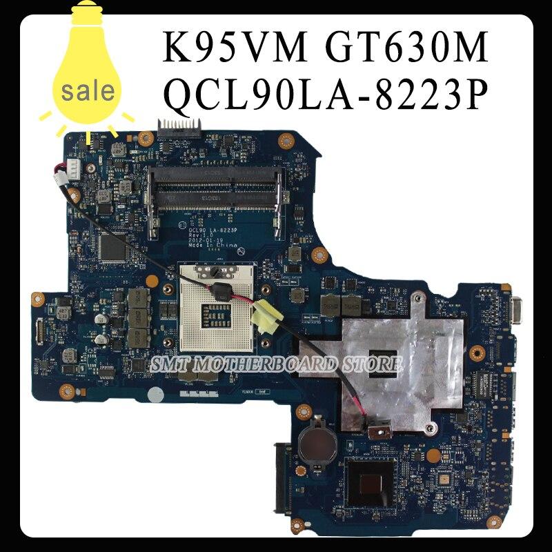 K95V K95VM K95VJ K95VB A95VM A95V A95VB A95VJ laptop motherboard For Asus 2G QCL90 LA-8223P Mainboard 2ram slots GT630M Tested for asus laptop mainboard a43s x43s k43sj a43sv k43sv k43sm series motherboard gt630m 1gb d radr3